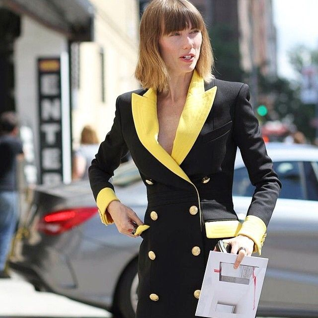 anyaziourova lapel collar dress vestidos solapa , nyfw, street style, Nueva York