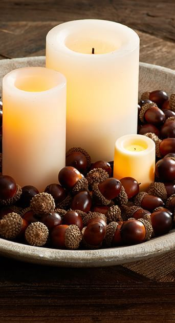 How simple.  Acorns and candles.