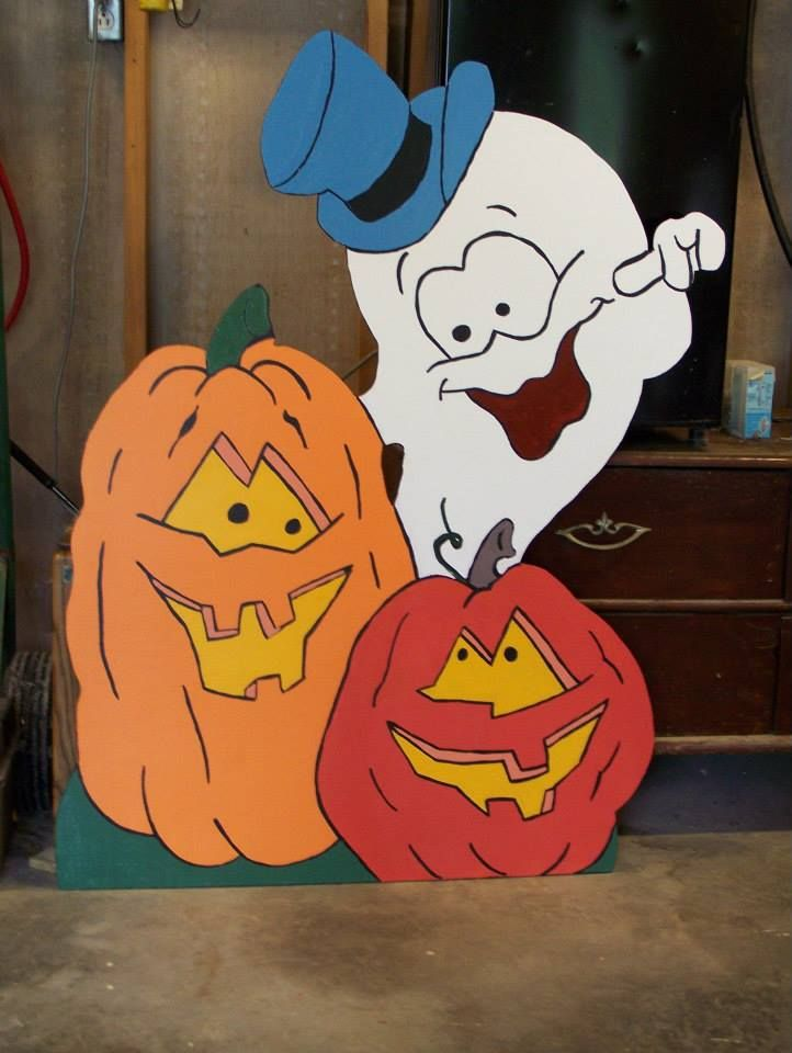 Ghost and 2 Pumpkins Wood Yard Art Decorations Halloween Holiday 4' halloween yard decorations