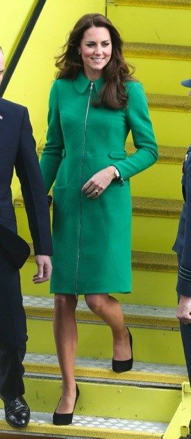 Cambridge Royal Tour-Day 5, Hamilton, New Zealand, April 12, 2014-The Duchess of Cambridge wore a green Erdem Allie coat and the Budding Heart Silk Tea Dress by designer Suzannah for her morning visit