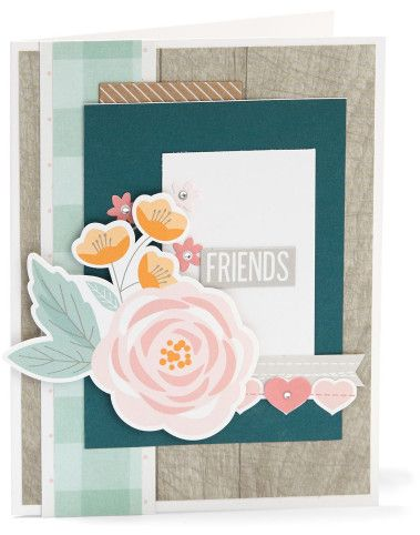 Friends Gimme Some Sugar Card - complement day #ctmh #closetomyheart #diy #card #cardmaking #friends #gimmesomesugar #gimme #some #sugar #kitchen #pink #flowers #floral #rustic #hearts #embellishment #embellish #complement #compliment #stickers #accessories #accessory #bashful #peacock #woodgrain #wood