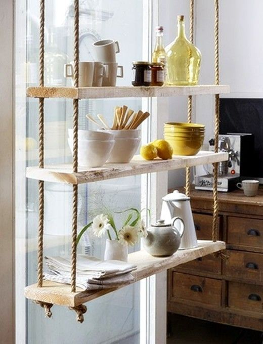 Rope shelves cretaive Home decor ideas. love this but the things on the shelf would be be broken in two seconds in my house :)
