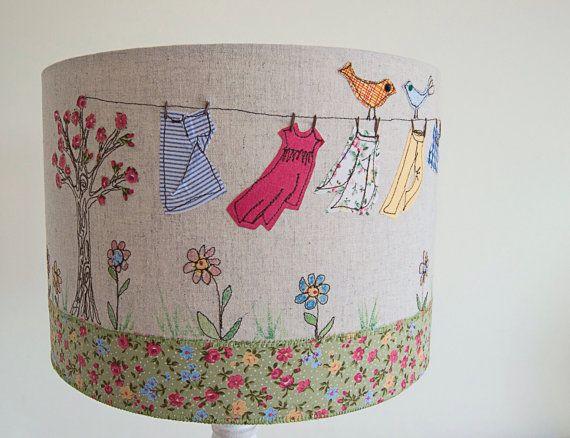 Washing Line Lampshade designer lampshade by TigleyTextiles