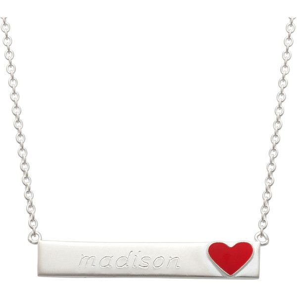 Personalized Sterling Silver Heart Emoji Name Necklace, White (One Size) - Womens > Necklaces + Pendants > Link Necklaces ($60) found on Polyvore featuring women's fashion, jewelry, necklaces, white pendant, sterling silver heart jewelry, sterling silver necklace, sterling silver jewelry and pendant necklace