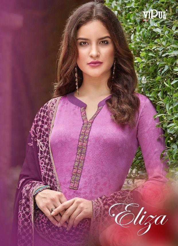 d947b3df18 Vipul Fashion Eliza Designer Printed Satin Silk with Embroidery Work Dress  Material Dealer Surat
