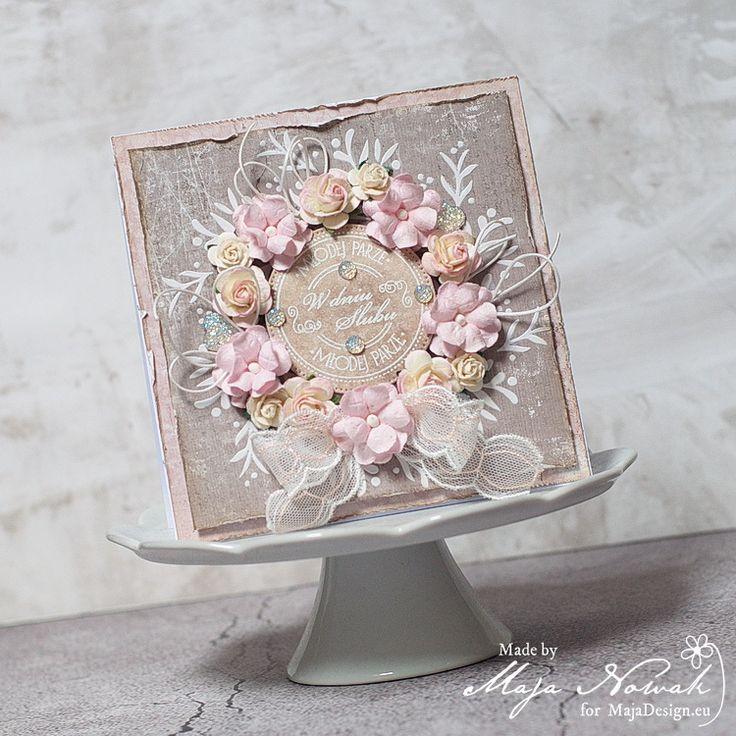CraftHobby Oliwiaen: Shabby Chic Wedding Card. Ślubna kartka shabby chic