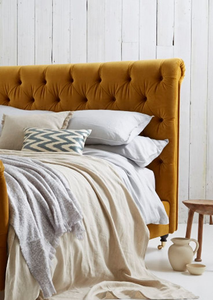 Love your Home -  Guinevere Bed - stain resistant velvet roll top bed with button headboard detail. Available with Bespoke length options , extra leg room, for Tall people.  Velvet bed, bedroom design, home decor bedroom, large beds, yellow beds, Buttoned bed