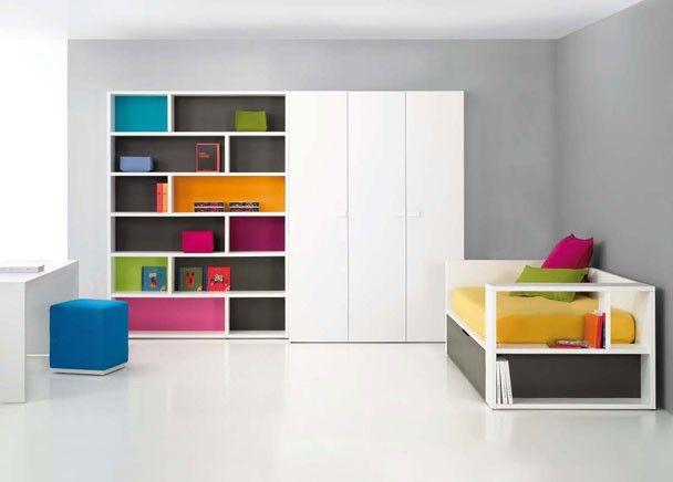 juvenil con librera y armario modular