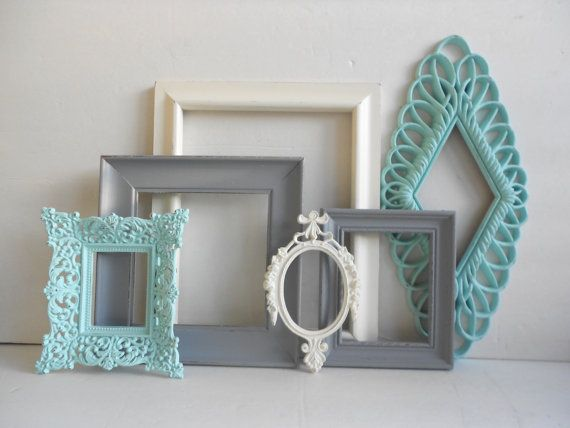 PICTURE FRAME Collection - Set of 6 - Turquoise Grey Gray Antique White - Open Frame Set - Gallery Wall - Vintage Ornate - Cottage Chic