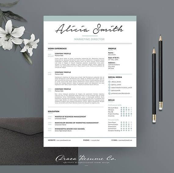 Check out this item in my Etsy shop https://www.etsy.com/listing/556656959/resume-template-3pages-for-marketing