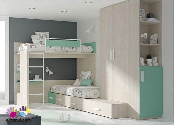 Dormitorio infantil con literas armario zapatero for Zapatero para habitacion