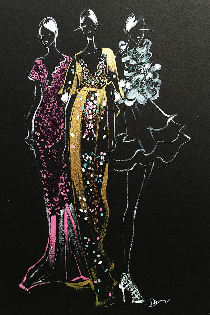 """""""Inspired Fashion Illustration (Couture Gowns)"""" - canvas print by Rongrong DeVoe"""