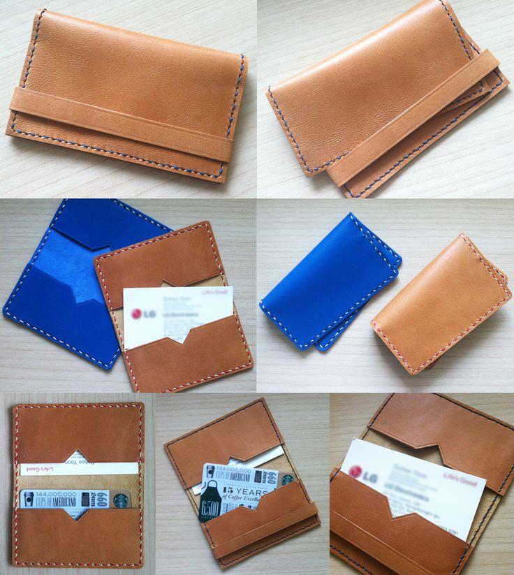name card and card cases -  Especially, they were made in the way of double stitch using two different colours.