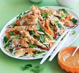 Grilled chicken and noodle salad with satay dressing | Australian Healthy Food Guide