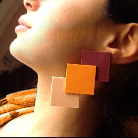 THREE Orecchini in Moosgummi arancio, rosa cipria e vinaccia  : Orecchini di bibidimorbidecreazioni