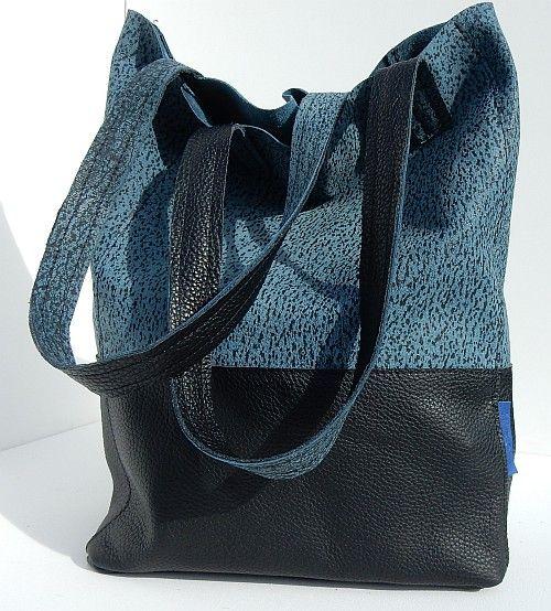 Shopper jeans blauw - zwart