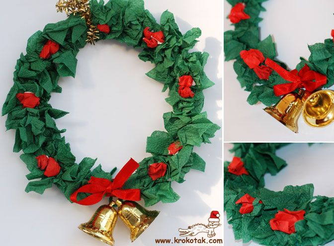 Paper plate Christmas wreath You'll need: Green and red tissue paper or tissues PVA Glue Paper plates
