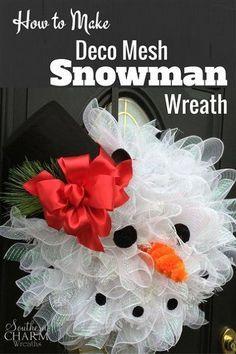 cómo hacer deco malla muñeco de nieve de la guirnalda, la artesanía, la forma de decoración de fiesta, estacional, coronas