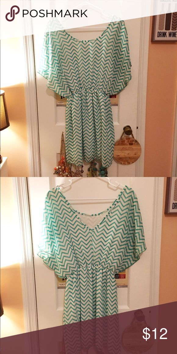 Mint chevron dress Mint chevron dress. Very flowy. Has a built in slip. Worn once Love Culture Dresses Mini