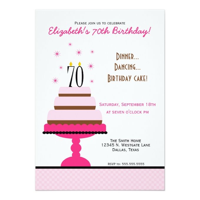 1329 best 70th birthday invitations images on pinterest invitation pink tiered cake 70th birthday party invitation stopboris Images