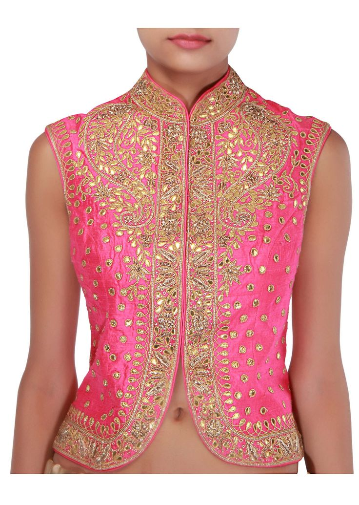 #Gorgeous Pink jacket blouse embellished in gotta patti embroidery @ http://www.KalkiFashion.com/