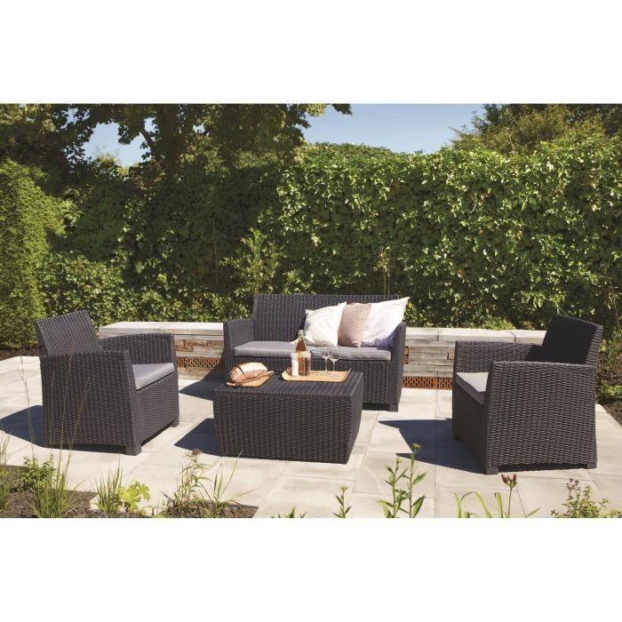 Allibert Modena Lounge Set With Cushions Graphite Achica