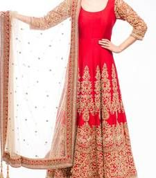 Buy Red embroidered bangalore silk semi stitched salwar with dupatta ready-to-ship-salwar-kameez online