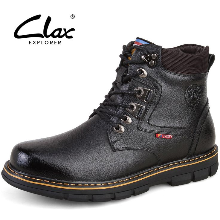 Clax Men Winter Boots Fur Warm 2016 Snow High Ankle Boot For Male Plush Genuine Leather Martin Shoes Classic