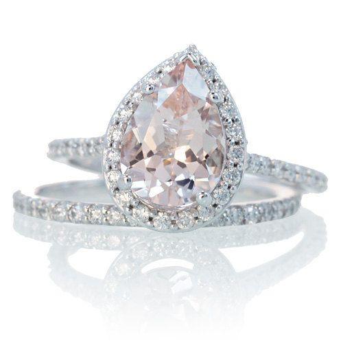 Bridal Set with Matching Band Morganite Engagement Ring 14K White Gold Pear Cut Diamond Halo Morganite Engagement Wedding Anniversary Ring