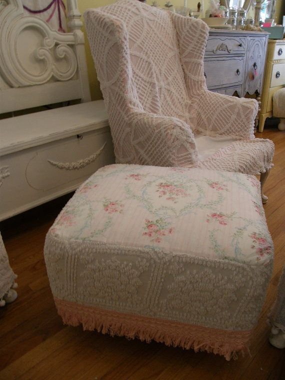 dhenille slopcovers | ... club chair and ottoman vintage chenille bedspread slipcovers