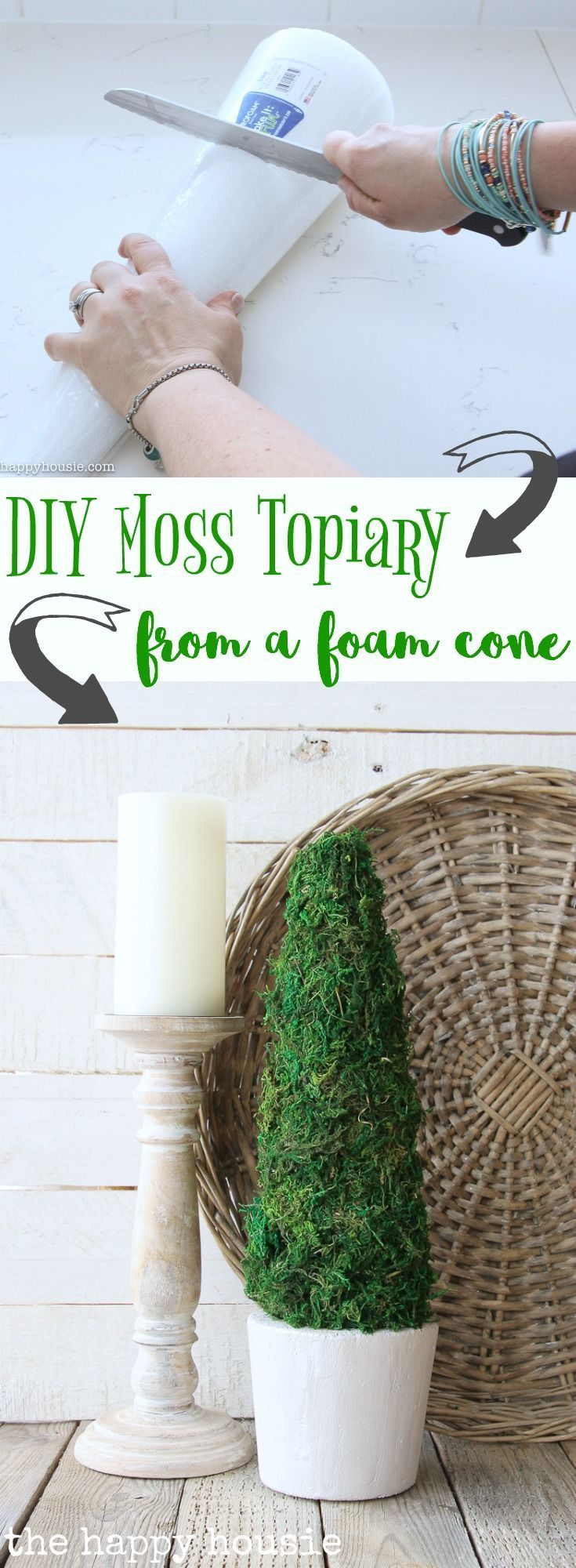 DIY Farmhouse Style Moss Topiary Tree