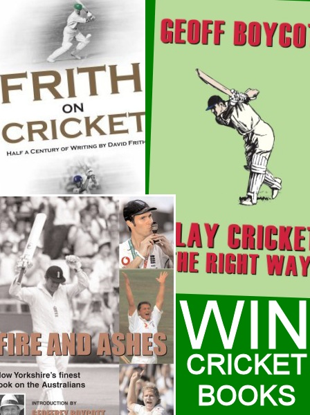Win one of 5 superb cricket books!    We have a selection of cricket books - some signed by Geoff Boycott and David Frith, up for grabs in our latest free to enter competition.    To enter simply 'like' our facebook page (facebook.com/britishsports) or if you're not into facebook email competitions@britishsports.com.    The winners will be drawn at random from all entries received by midday 12th July 2012.