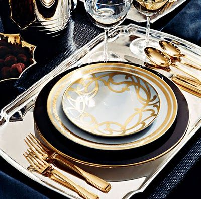 Tablescape Navy Blue, Gold And Your Own Personal Silver Tray! Gold Table  SettingsElegant ...