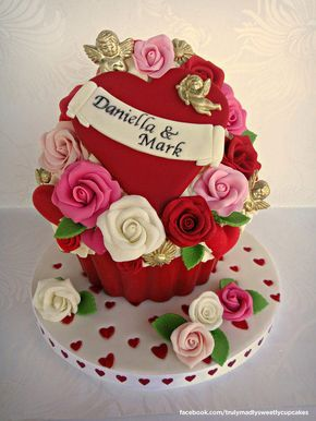 Valentine Giant Cupcake - Cake by Truly Madly Sweetly Cupcakes