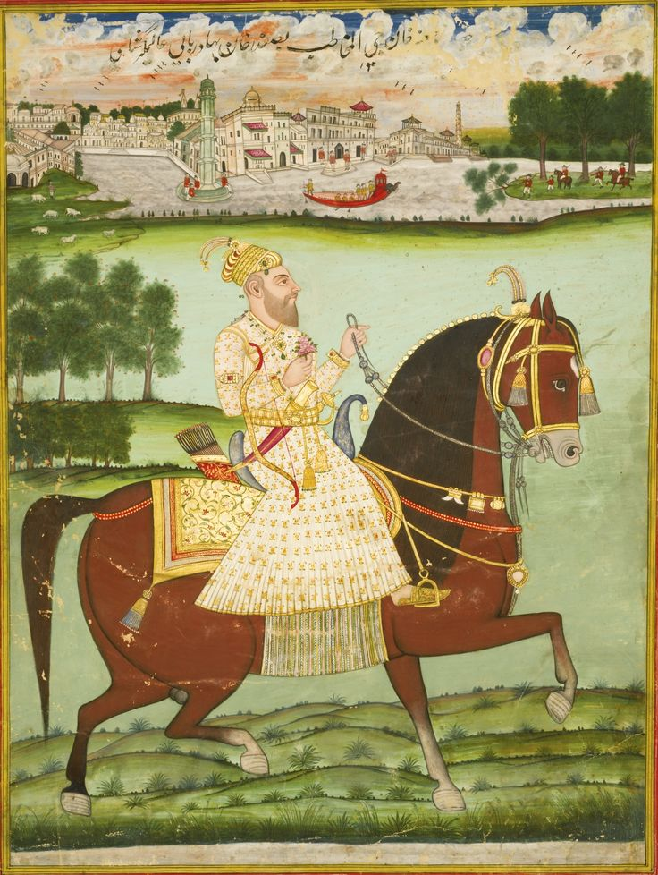 Portrait of Ja'far Khan, India, Deccan, Hyderabad, circa 1775-1810, Gouache heightened with gold on paper, depicting Ja'far Khan on horseback holding a sprig of flowers, a river and townscape in the background, inscribed above in black nasta'liq script, laid down on stout paper and ruled in red, white, yellow and blue, painting: 52.2 by 39cm., leaf: 56.5 by 43.8cm.