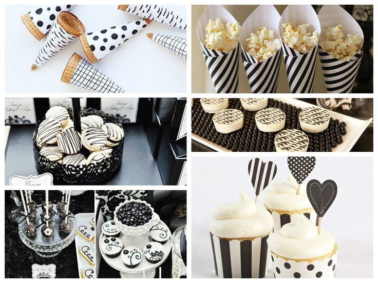 Doces decorados para a festa preto e branco - Fotos: Pinterest