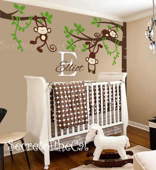 Nursery Wall Decals Nursery Baby Garden Tree by secretofthecat, $110.00 (DOESN'T WORK W/ OUR WALL SITUATION, LACK SHELVES.....)