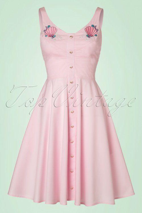Bunny Lorelei Pink Mermaid Dress pastel pink shell applications pastel roze jurk vintage look 1950s schelpen applicaties