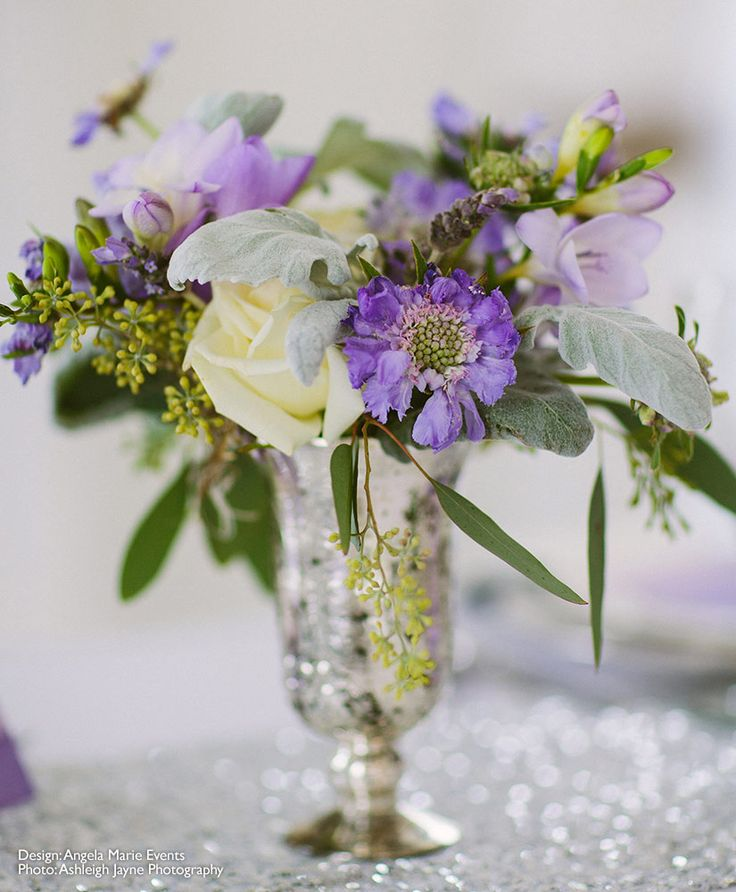 make your own wedding flower centerpieces%0A Mercury Glass Palais Floral Vase in Silver measures   inches tall by      inches wide  Purple Wedding CenterpiecesWedding