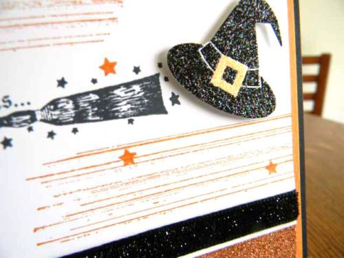 if the broom fits fly it handmade handstamped halloween greeting card - Handmade Halloween Cards Pinterest
