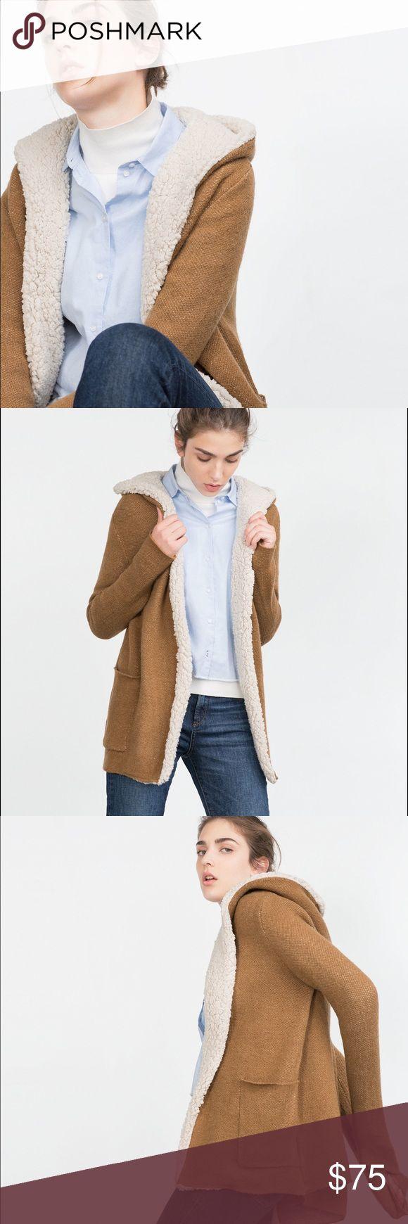 Zara Short Coat in Natural Worn a couple times. Zara Jackets & Coats