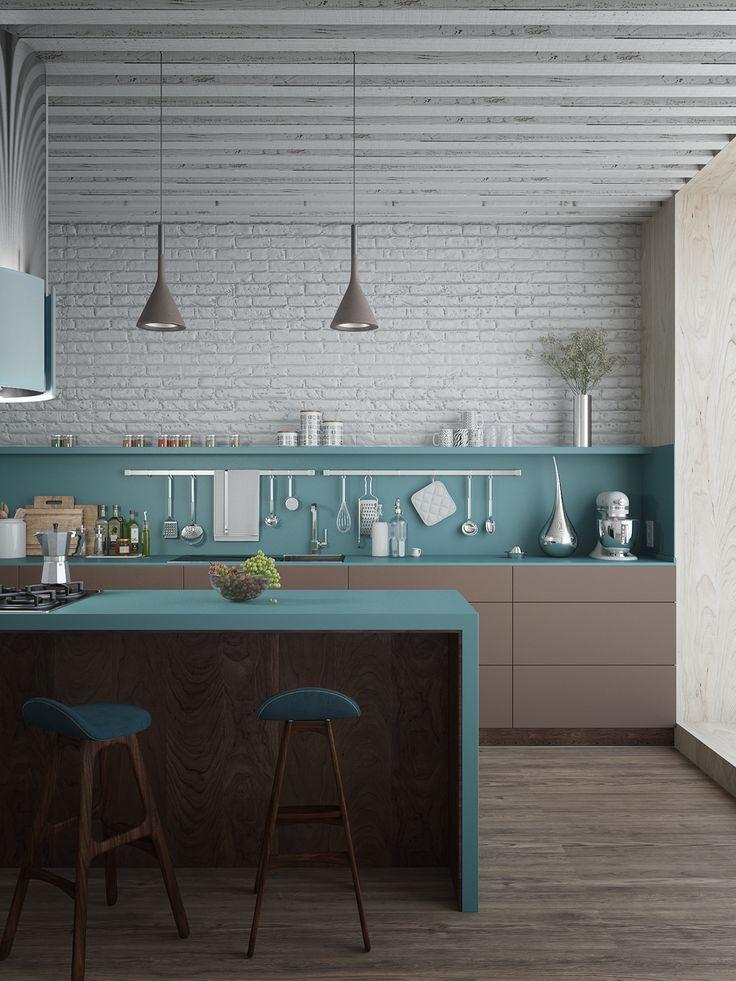Pas pour le choix des couleurs mais pour la linéarité meubles/plan de travail-crédence/mur avec une étagère marquant la limite crédence/mur