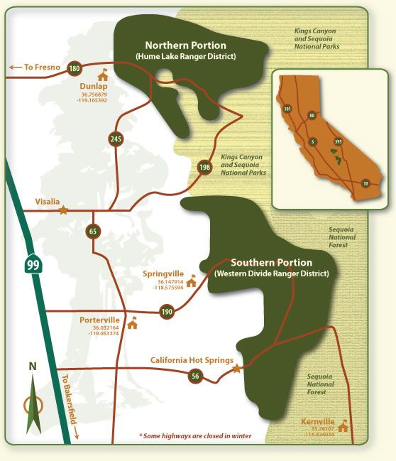 Interpretive map showing northern and southern portions of the Giant Sequoia National Monument