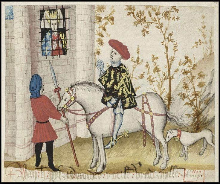 The Brabant Chronicle Brabantsche Yeesten noble on horseback visits noblewoman in jail