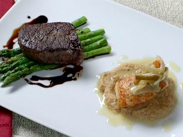 Pan Roasted Filet Mignon with Asparagus Sea Bass with Roasted Cauliflower Puree from FoodNetwork.com