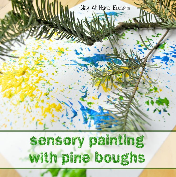 Christmas sensory painting with pine boughs by Stay At Home Educator is an process based art activity for preschoolers that appeals to more than one sense.