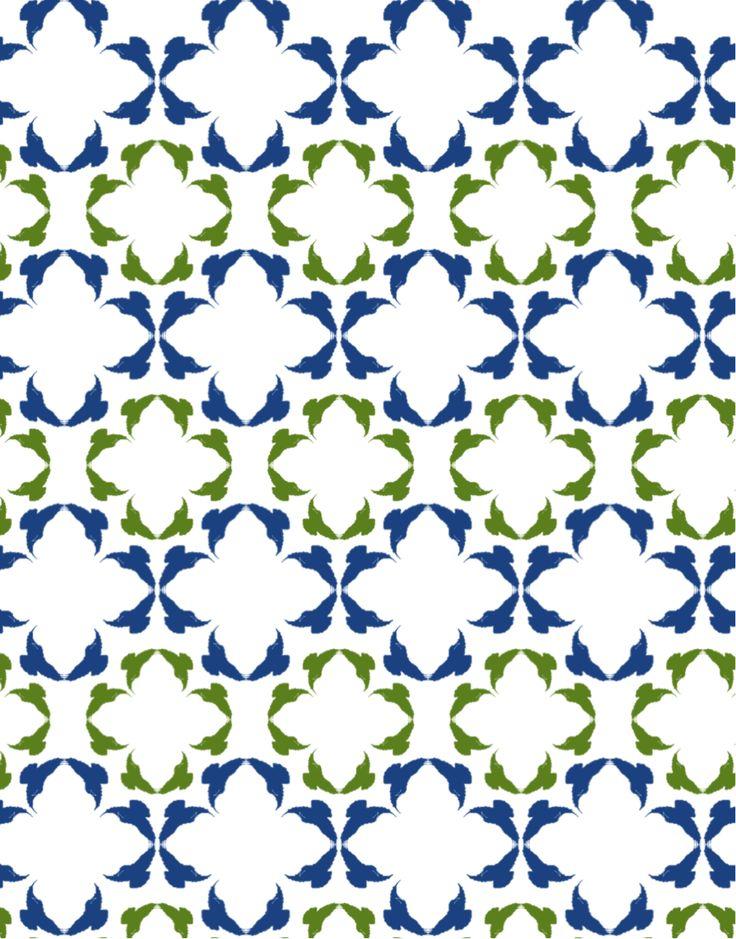 Simetría de reflexión especular, traslación y crecimiento o dilatación. Contraste entre colores fríos.