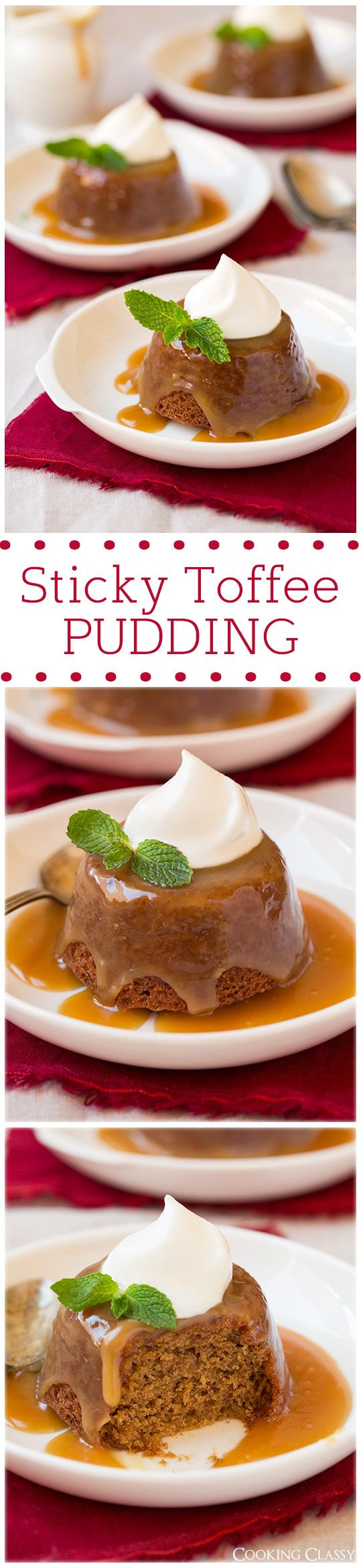 Sticky Toffee Pudding - This is just like what Grandma used to make! Moist, soft and melts in your mouth when served warm! Love that they are in individual cupcakes size servings too.
