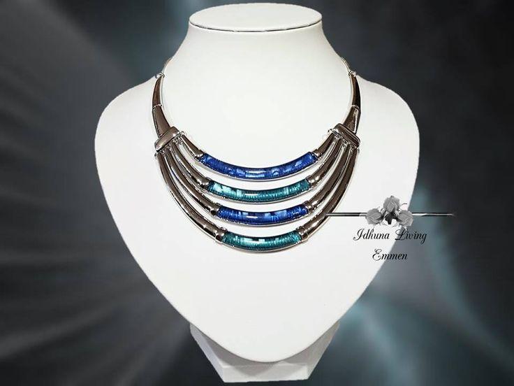Moderne dames halsketting kort zilver-blauw-groen