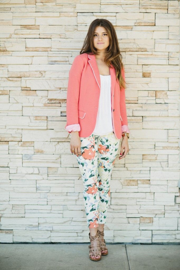 Mollie Ruiz-Hopper Styled Right Magazine - Spring outfit, coral blazer and floral pants.